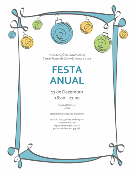 Convite para festa com ornamentos azuis, verdes e amarelos (Design informal)