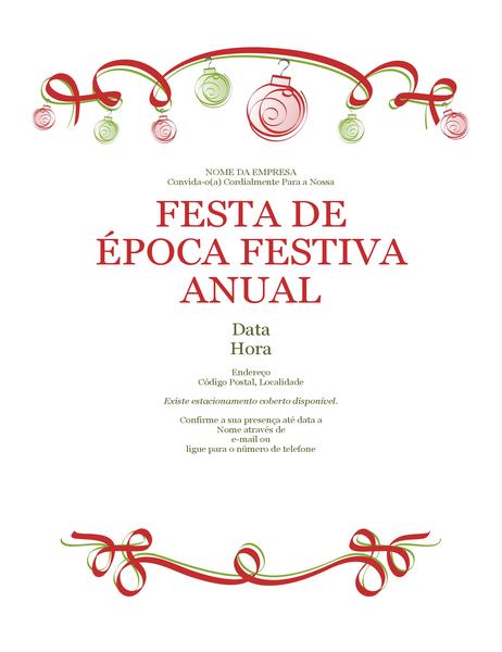 Convite de festa de época festiva com ornamentos e fita vermelha (design Formal)