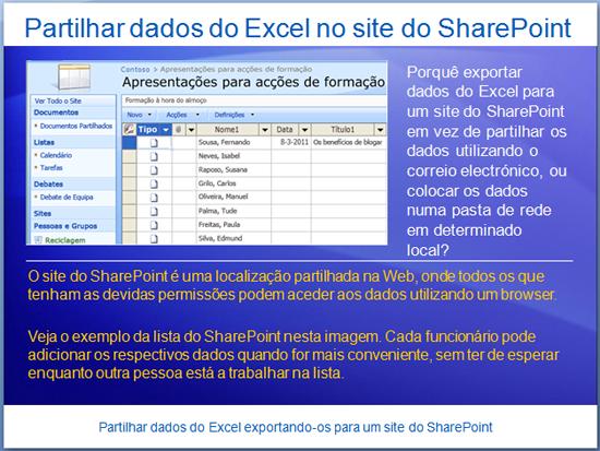 Apresentação de formação: Excel 2007—Partilhe dados do Excel exportando-os para um site do SharePoint