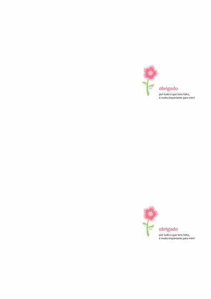 Cartão de agradecimentos (desenho com flores)