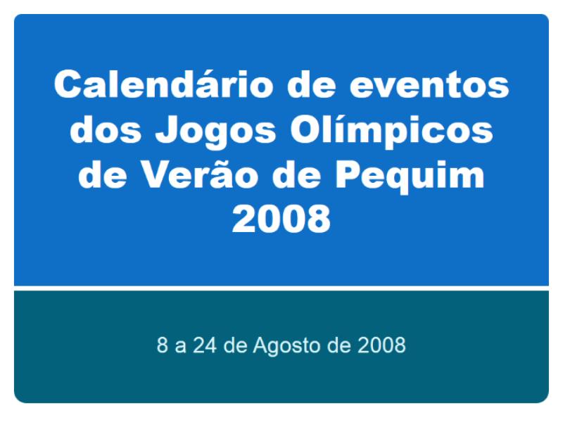 Calendário de eventos dos Jogos Olímpicos de Verão de Pequim 2008