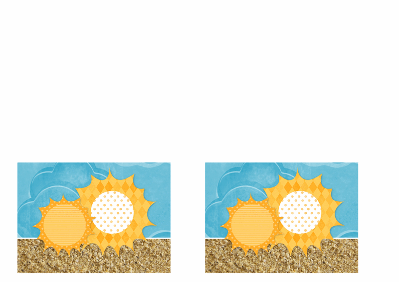 Convite (desenho de sol e areia)