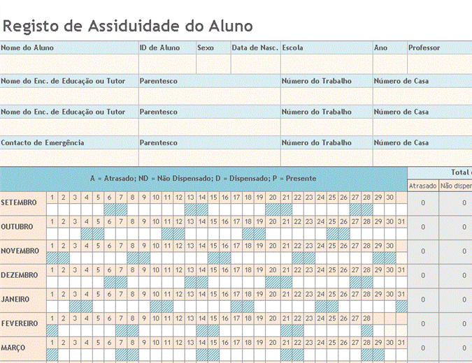 Registo de assiduidade de alunos 2008-2009