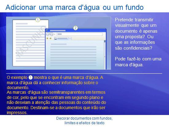 Apresentação de formação: Word 2007 - Decore documentos com fundos, limites e efeitos de texto