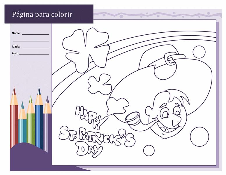 Desenhos para colorir do Dia de São Patrício (Desenho de Duende)