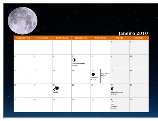 Calendário lunar de 2010 (Hora Universal)