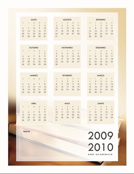 Calendário académico 2009-2010 (1 pág., Seg. - Sex.)