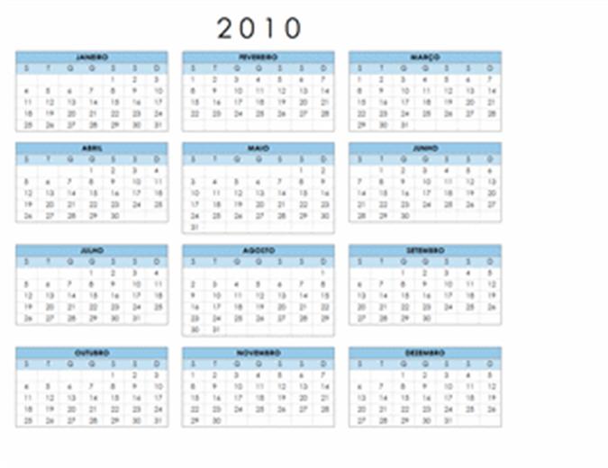 Calendário de 2010 (1-pág., horizontal, Seg-Dom)
