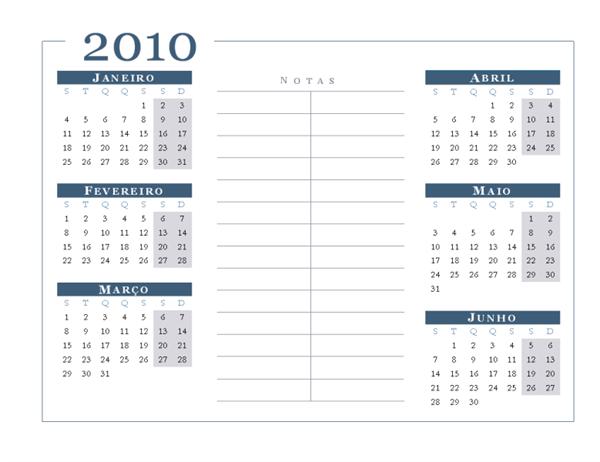 Calendário de 2010 (6 meses/página, Seg-Dom)