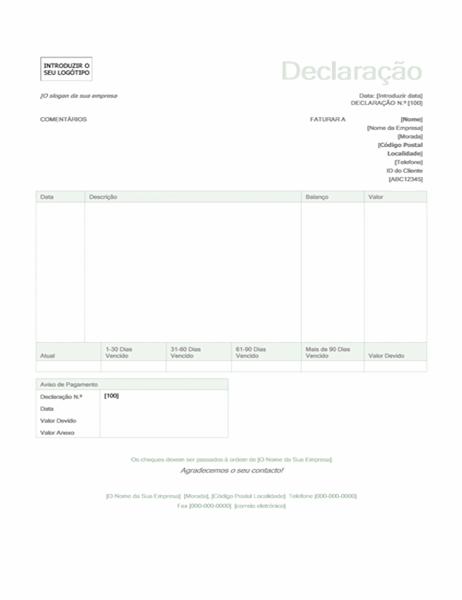 Declaração de faturação (design verde)
