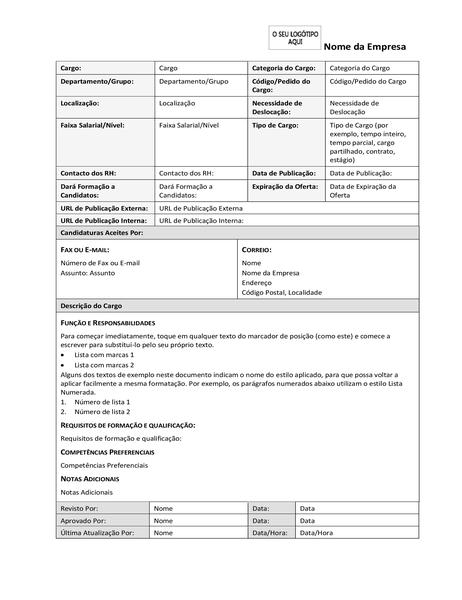 Formulário de descrição do cargo