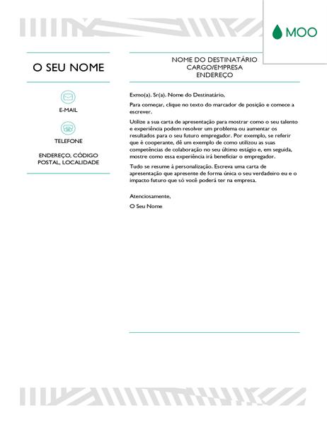 Carta de apresentação criativa, concebida pela MOO