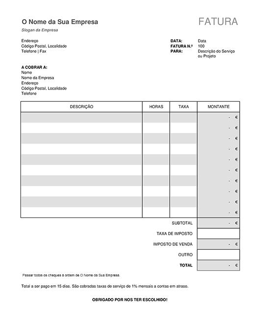 Fatura de serviço com o cálculo dos impostos
