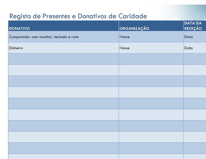 Registo de presentes e donativos de caridade (simples)