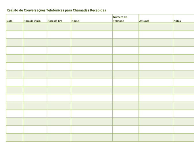 Registo de conversações telefónicas (para chamadas recebidas e efetuadas)