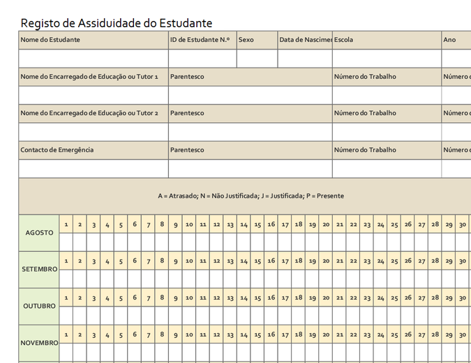 Registo de Assiduidade do Estudante (simples)