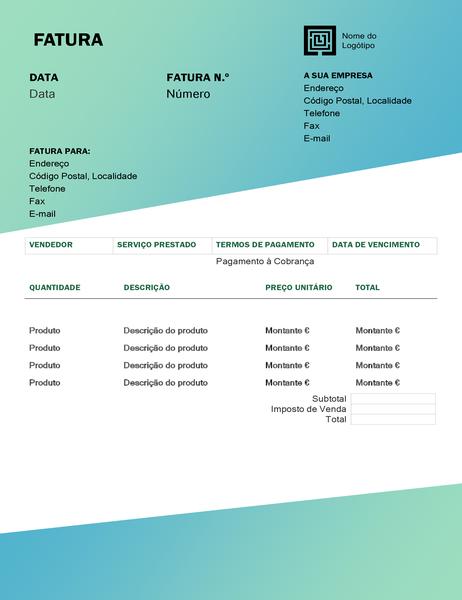 Fatura de serviço (design com Gradação Verde)