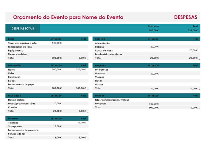 Orçamento para eventos Simples