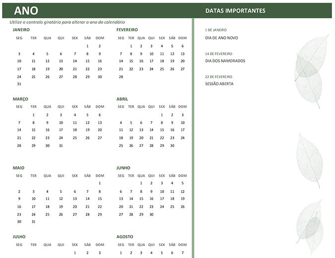 Calendário empresarial (qualquer ano, domingo a sábado)