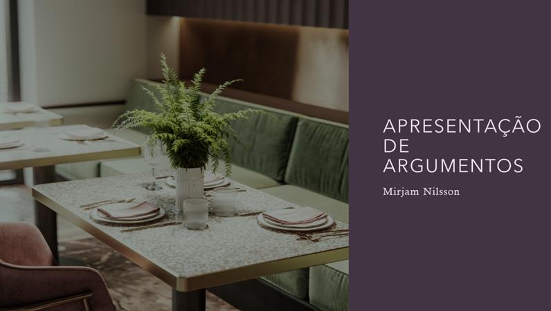 Apresentação de argumentos para restaurantes