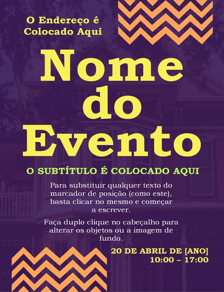 Panfleto de evento em ziguezague