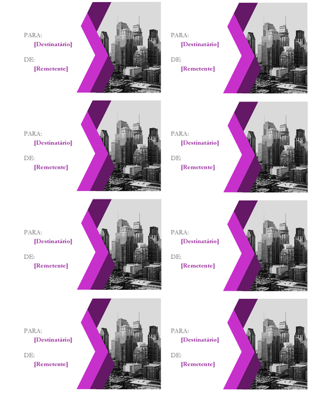 Etiquetas de presentes com ângulos (8 por página)