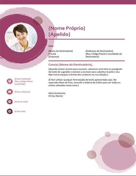 Carta de apresentação suite rosa