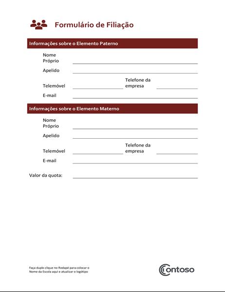 Formulário de subscrição