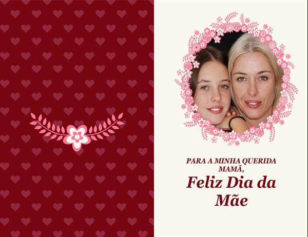 Cartão do Dia da Mãe com moldura floral