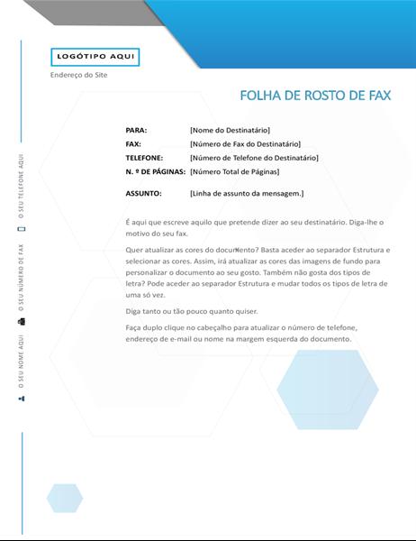 Folha de rosto de fax com hexágonos