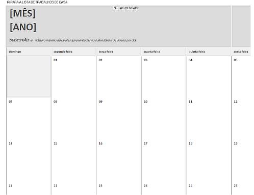 Calendário de trabalhos de casa