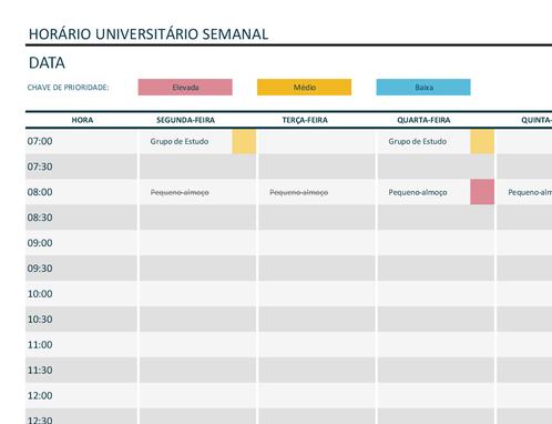 Agenda universitária semanal