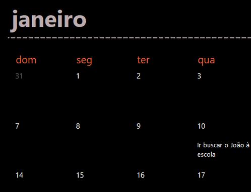 Separadores de calendário perene (preto)