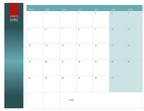 Qualquer calendário do ano