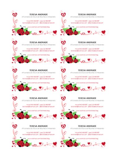 Cartões de visita (joaninhas e corações, centrados, 10 por página)