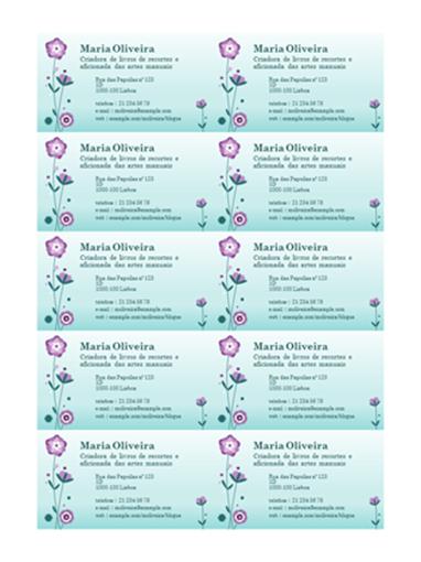 Cartões de visita (ilustração de flor, 10 por página)
