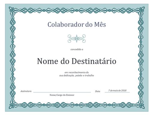 Certificado de Empregado do Mês (estrutura de cadeia azul)