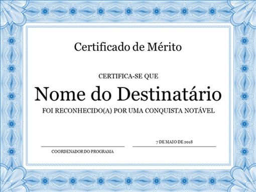 Certificado de Mérito (moldura azul formal)