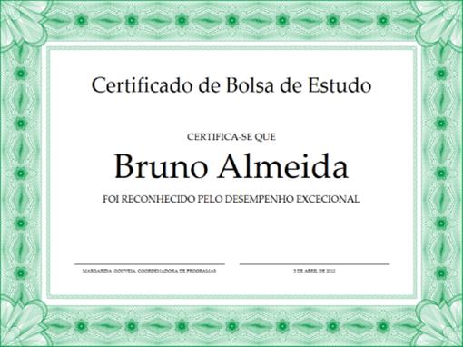 Certificado de Bolsa de Estudo (limite verde formal)
