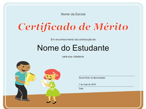 Certificado de Prémio (estudantes do primeiro ciclo)