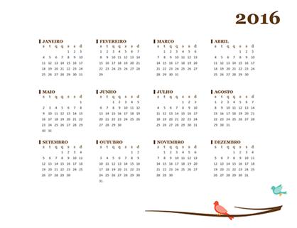 Calendário de 2016