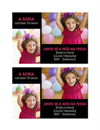Postal de convite para festa de aniversário