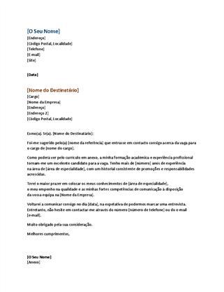 Carta de apresentação funcional (corresponde ao currículo funcional)