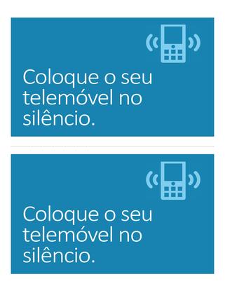 Cartaz de lembrete para desligar o telemóvel (azul)