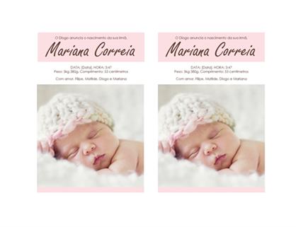 Anúncio de nascimento da bebé