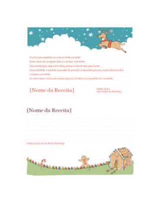 Cartões de receitas de Natal