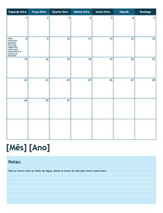 Calendário académico de um mês (Início na segunda-feira)