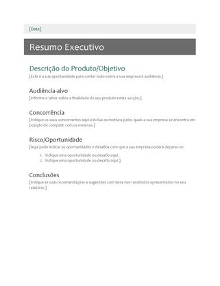 Resumo executivo