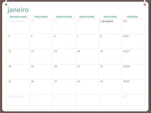 Calendário de 2017 (segunda-feira a domingo, design de dois anéis)