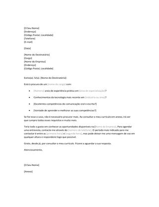 Carta de apresentação de currículo para candidatura espontânea